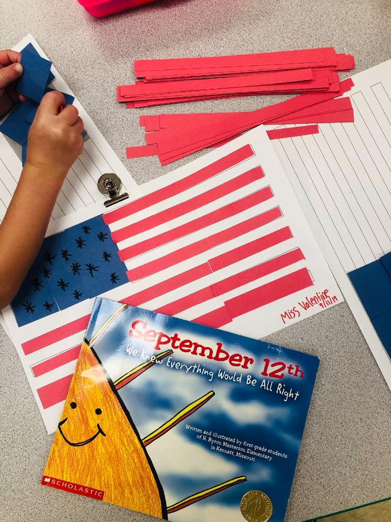 Ms. Valentine's Pre-K class made their own flags to remember 9/11