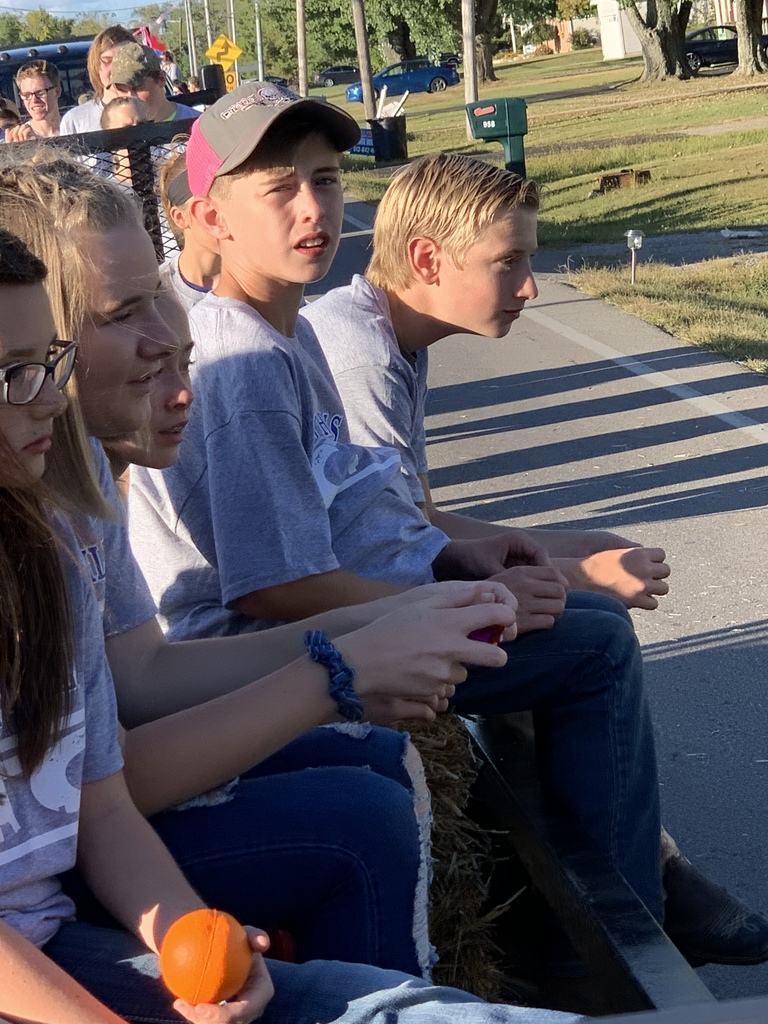Students riding float in Brown County Fair Parade