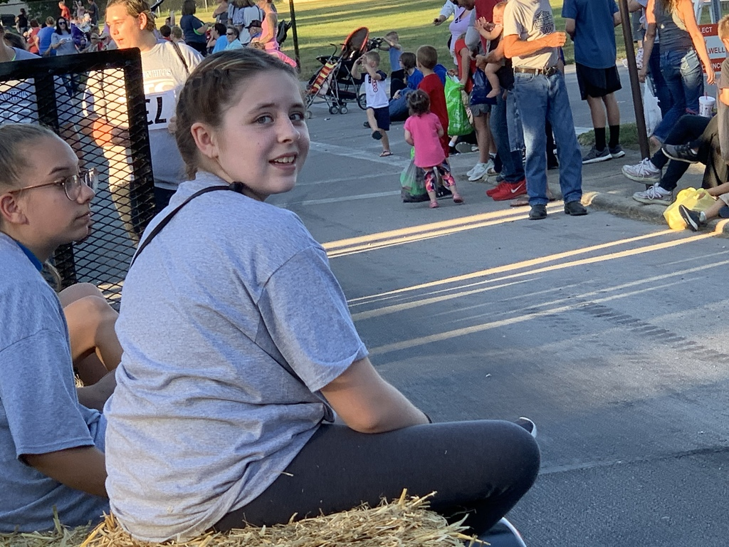 Student riding float in Brown County Fair Parade