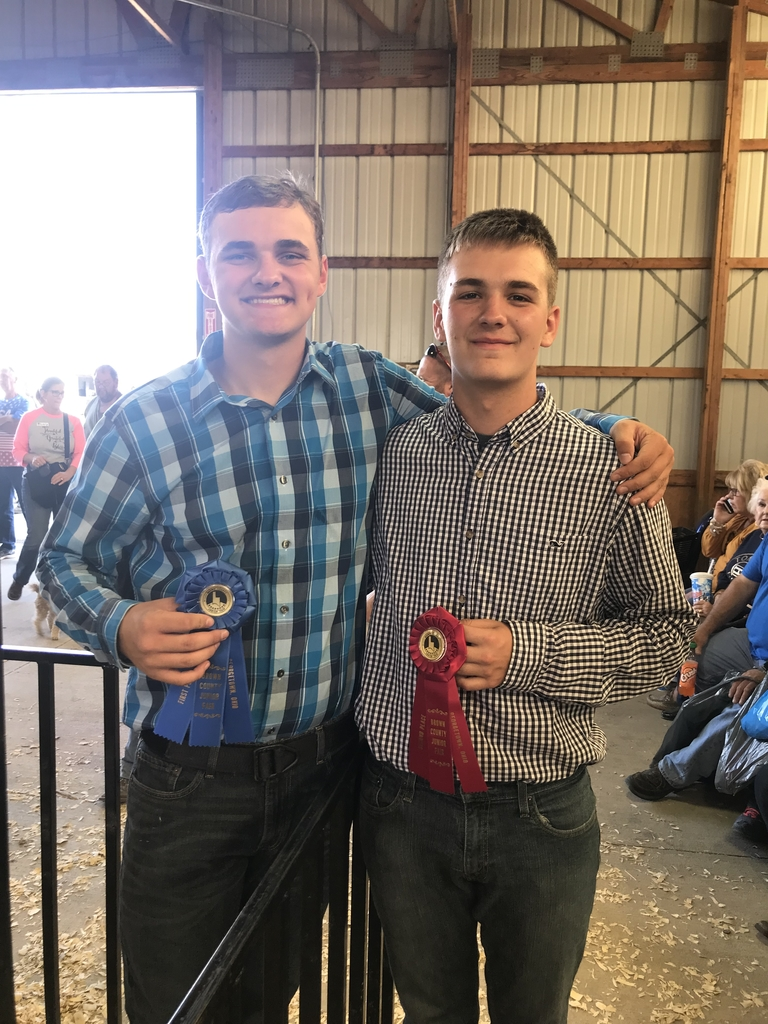 FHS students Ethan Waddle and Timmy Allender take 1st and 2nd place in Boer Goat Showmanship #browncountyfair